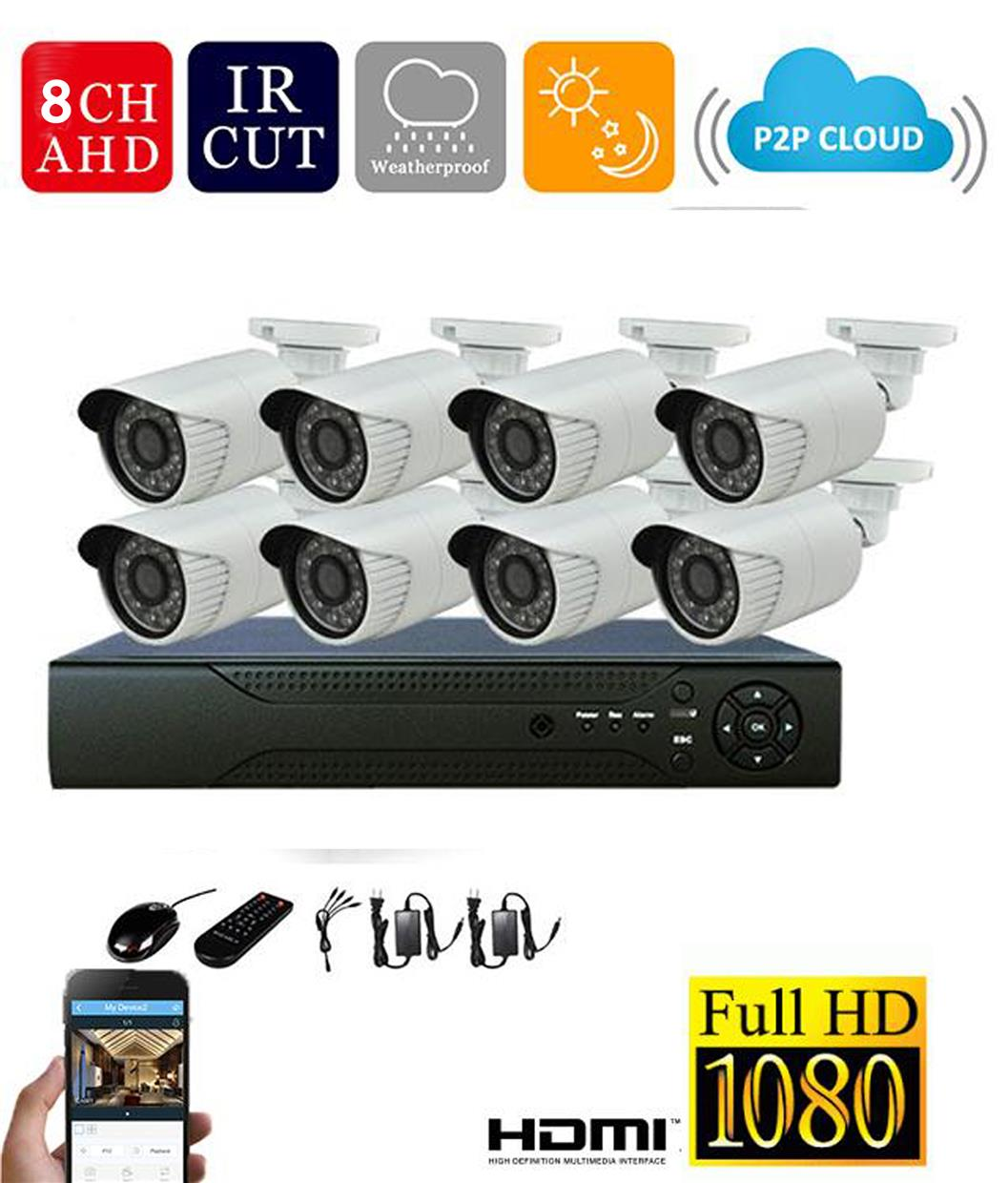 8CH 1.3MP 960P AHD DVR with 8IR Bullets Cameras Kit
