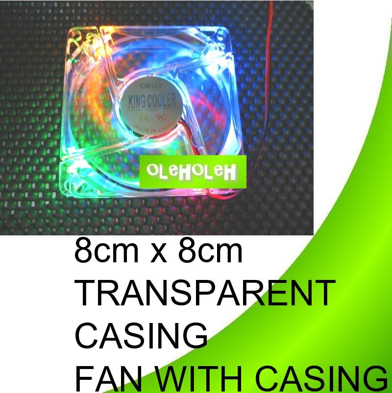 8cm x 8cm transparent casing fan with light