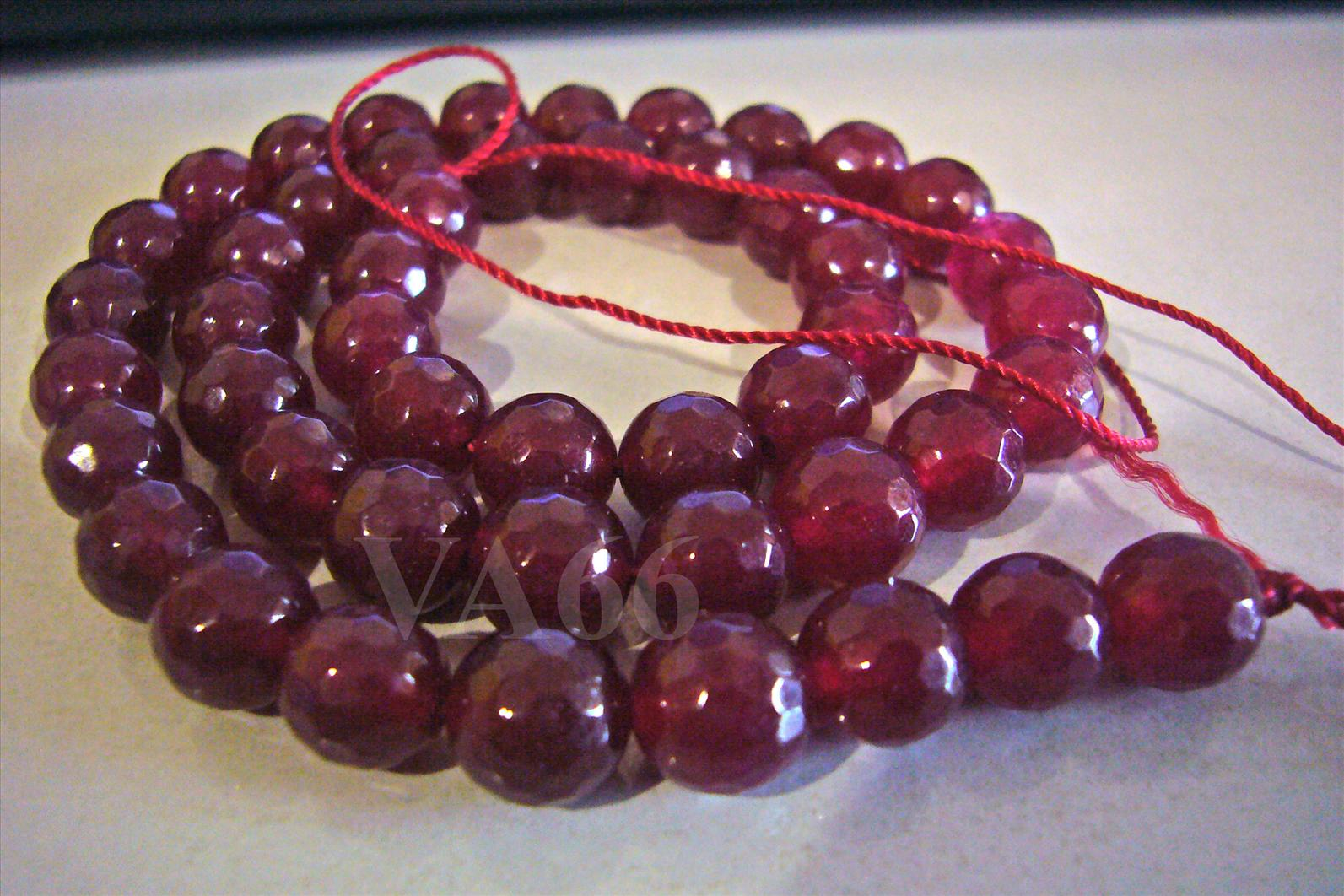 8mm Deep Red Ruby Color Dyed White Jade Facetted Round Gemstone Beads ..