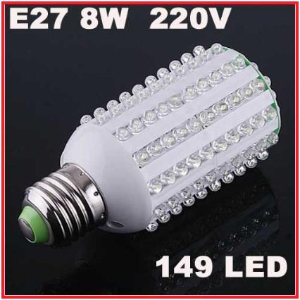 8W 149 LED E27 Corn Led Light Bulb Lamp Cool White NEW