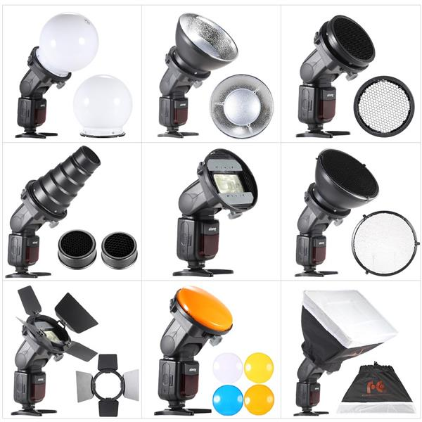 9 in 1 Speedlite Accessories Kit with Universal Mount Adapter