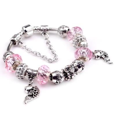 925 Sterling Silver Diy Hand Made Beads Crystal Bracelet Bangles
