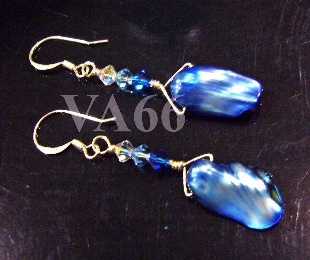 925 Sterling Silver Natural Japanese Blue Pearl Baroque Wire Wrapped E..