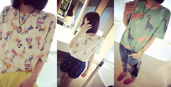 A2745 Fashion Cute Cartoon Short Sleeve T Shirt