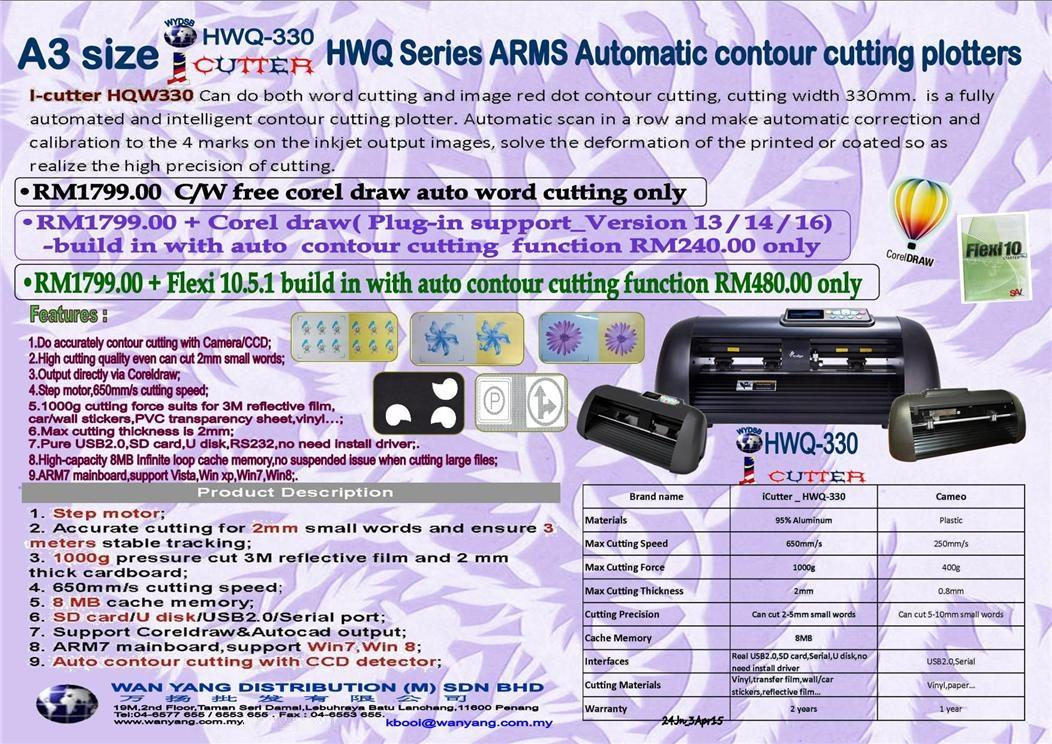 A3 iCutter HWQ 330 Arms Automatic Contour Cutting plotter