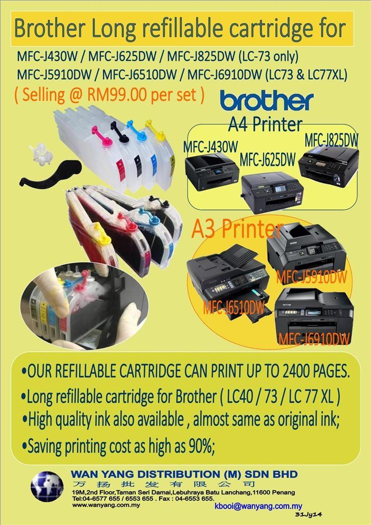 A4/A3 MFC J430W / MFC J5910DW Brother Long refillable cartridge