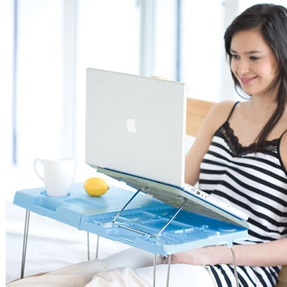 ABS Foldable Laptop Table - Blue+White Color