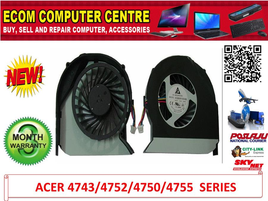 Acer Aspire  4743/4743G/4752G/4750/4750G/4755CPU Processor Cooling Fan