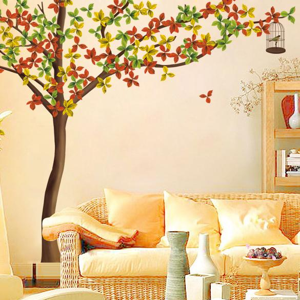 Adhesive Wall Sticker (2.5m*2.15m, Autumn Tree & Leaves, DIY Mural)