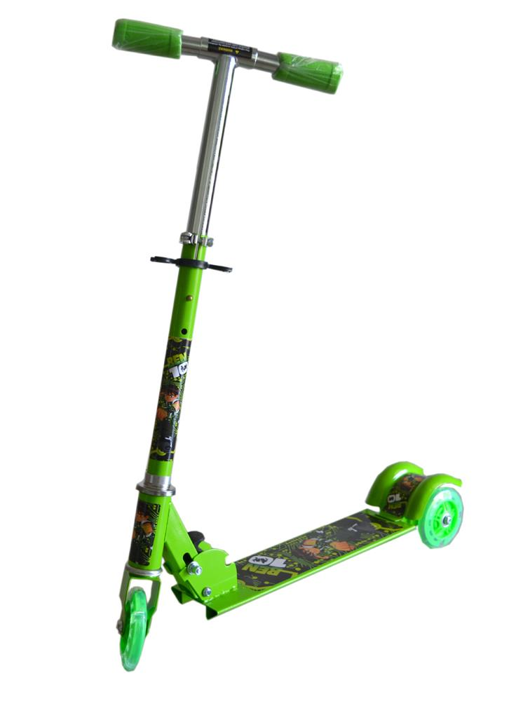 Adjustable Foldable Children Kids Scooter Bicycle- Green Benten