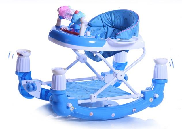 Adjustable Height 2 in 1 Baby Walker and Rocker With Music