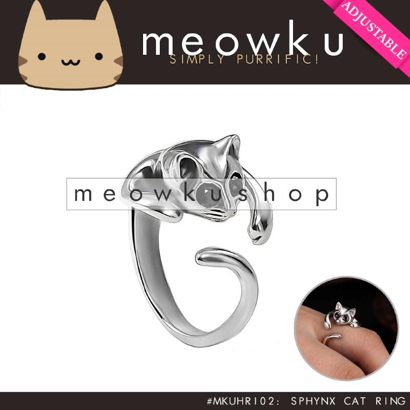 Adjustable Sphynx Cat Ring (Silver Jewellery Woman Gift Cincin Kucing)