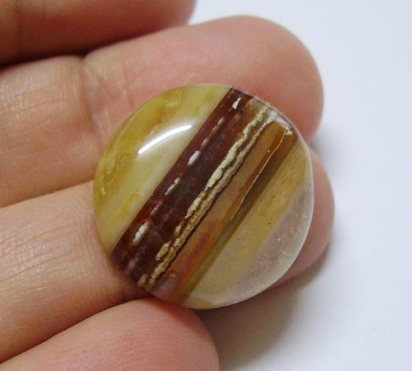 AG80 Banded Agate Quartz Striped Picture Chalcedony Cabochon 27.60ct
