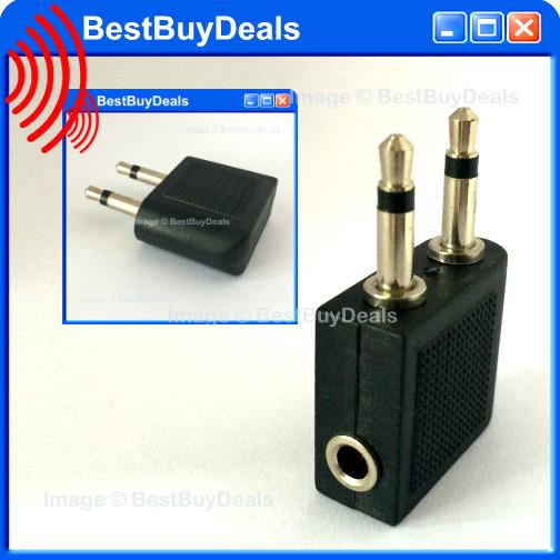 Airplane Airline Headphone Adaptor 2x 3.5mm Plug to Jack Converter Con