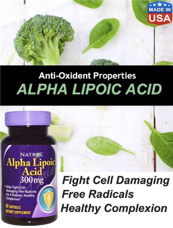 ALA Alpha Lipoic Acid 300mg 50cap, antioxidant (Made in USA)
