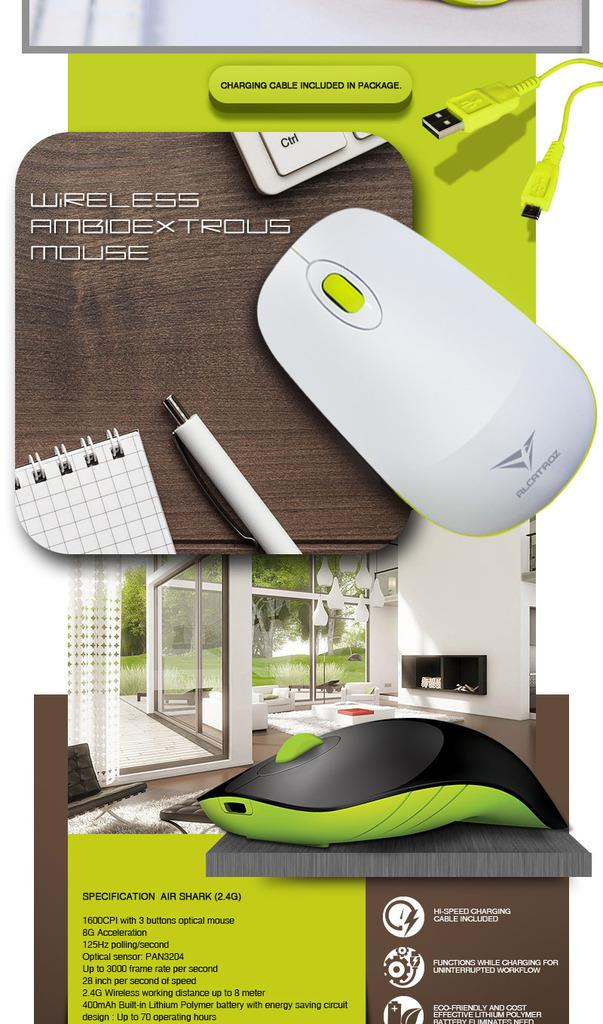 Alcatroz Air Shark 2.4G Wireless Mouse Rechargeable Built Battery