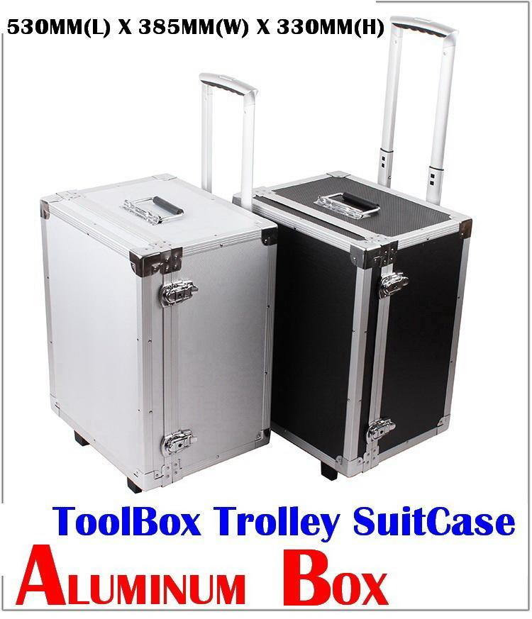ALUMINUM BOXES LOCK ANTI THEFT TOOLBOX TROLLEY SUITCASE (SILVER)