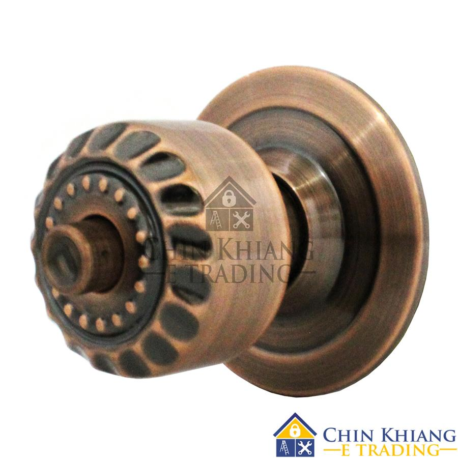Aman 5598AC Cylindrical Entrance Lock Door Knob Set Antique Copper