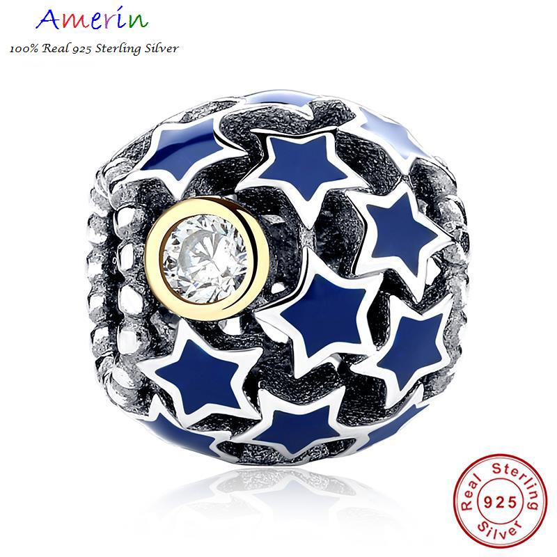 AMERIN 100% Real 925 Sterling Silver Deep Night Sky Blue Star Bracelet