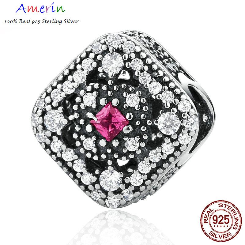 AMERIN 100% Real 925 Sterling Silver Fairytale Treasure, Cerise Red