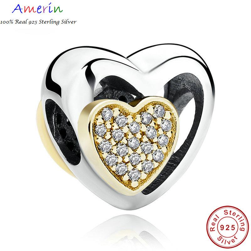 AMERIN 100% Real 925 Sterling Silver Heart Joined Together Bracelet