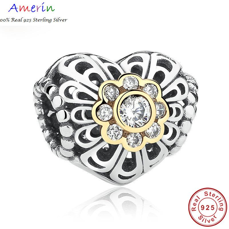 AMERIN 100% Real 925 Sterling Silver Love Charm, Gold Plated Bracelet