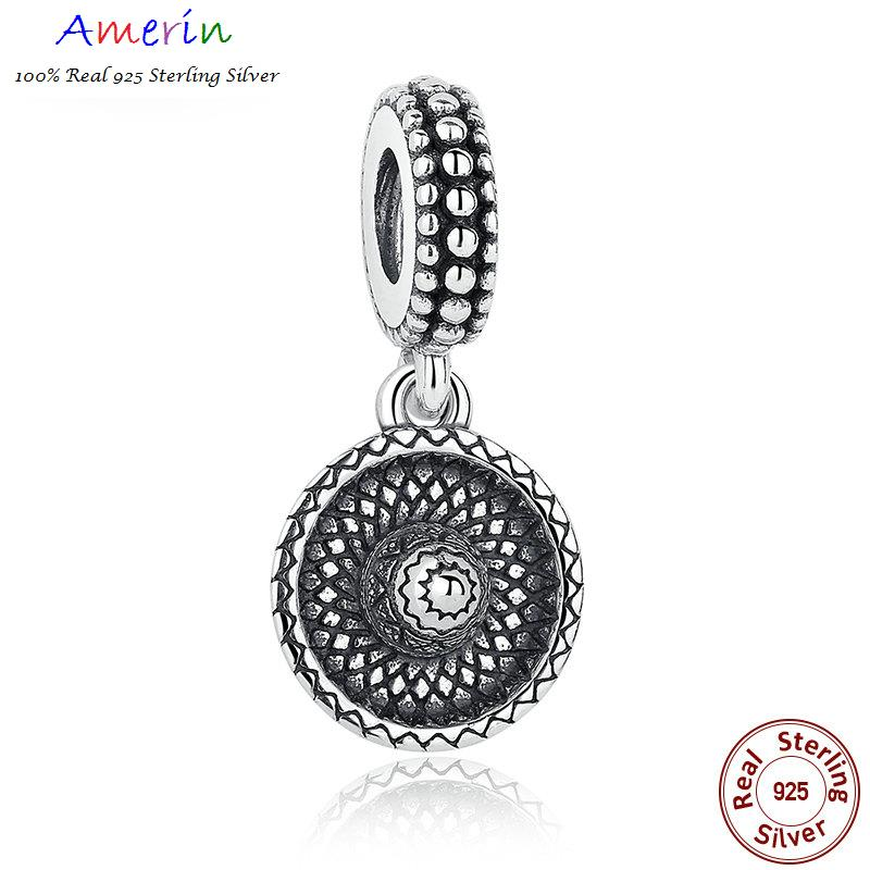 AMERIN 100% Real 925 Sterling Silver ombrero Ancient Charms Pendant