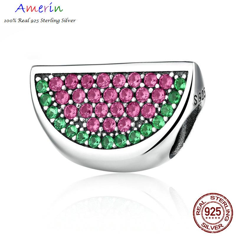 AMERIN 100% Real 925 Sterling Silver Watermelon Red & Green Bracelets