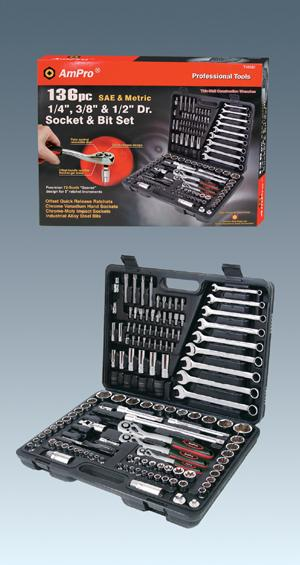 "Ampro 136pcs 1/4"", 3/8""&1/2"" Dr.Socket & Bit Set"