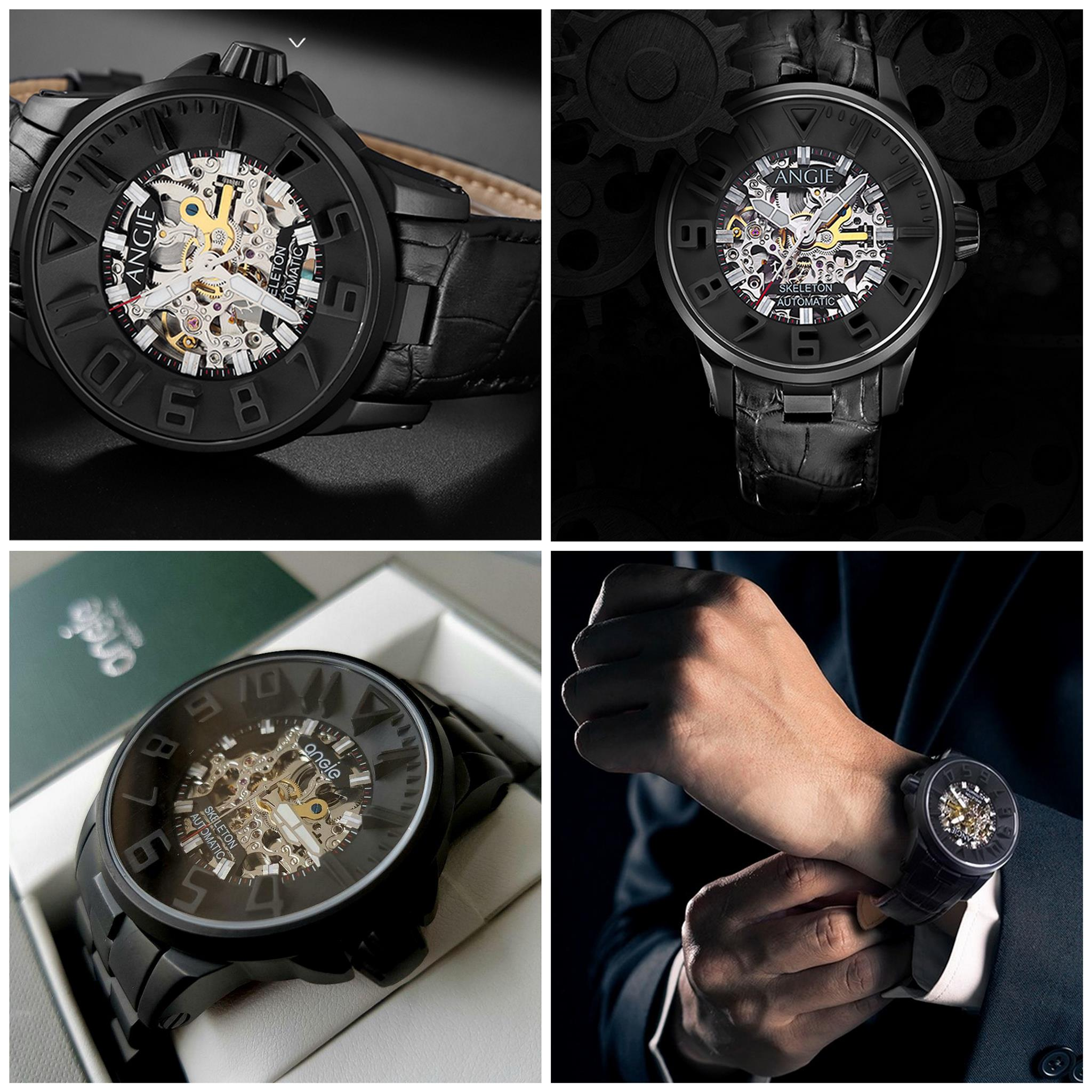 Angie Black Machinist 45mm Skeleton Automatic Sapphire 45mm