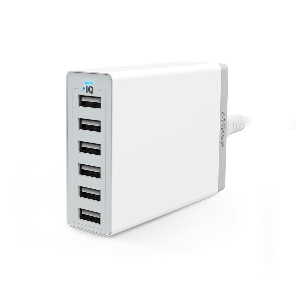Anker 60W 6-Port Family-Sized Desktop USB Charger 5V 12A - White