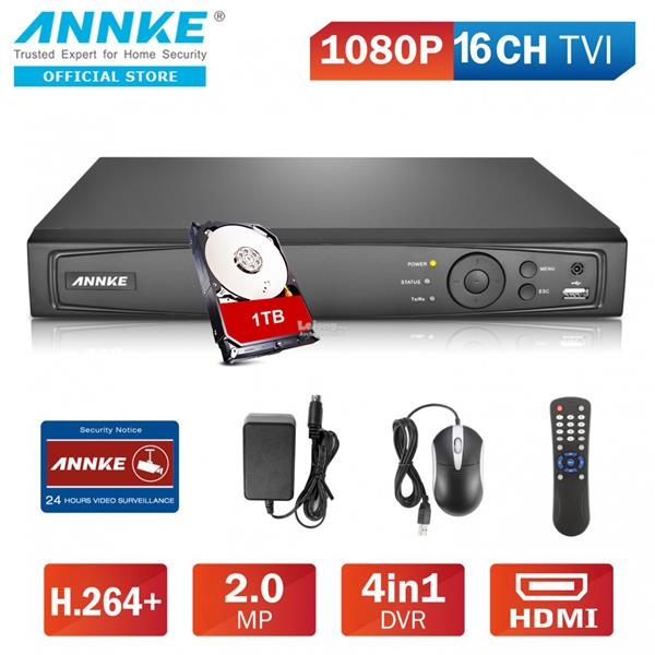 ANNKE 16CH 1080P 2MP TVI AHD Analog IP 4-in-1 Smart DVR with 1TB HDD