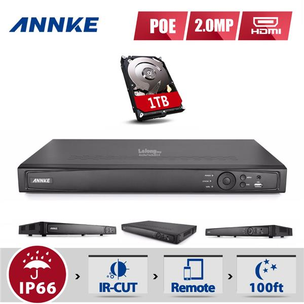 ANNKE 4CH HD 6MP POE NVR Advanced H.264 Video Compression with 1TB HDD