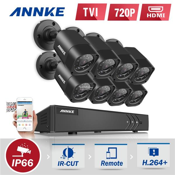 ANNKE 720P HD TVI IR-CUT IP66 CCTV Security Cameras 8 Bullet Cameras