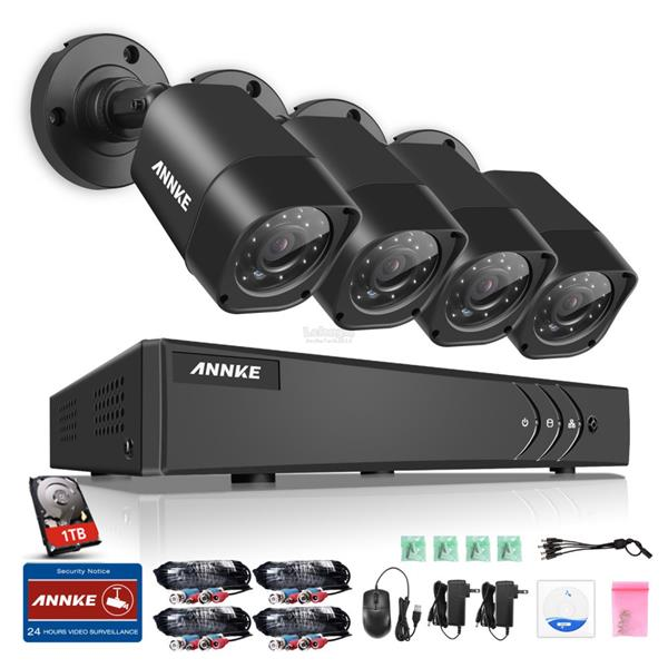ANNKE CCTV 720P Security Bullet Cameras & 4CH 720P DVR with 1TB HDD