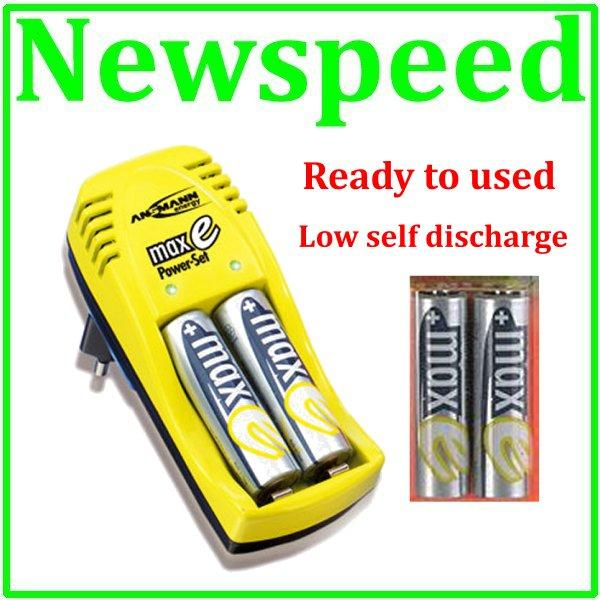 New Ansmann MaxE 4xAA 2100mah Rechargeable Battery Charger Set