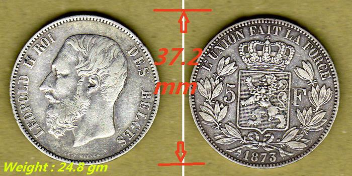 Antique Belgium Silver coin 5 Francs 1873 King Leopold II.. XF