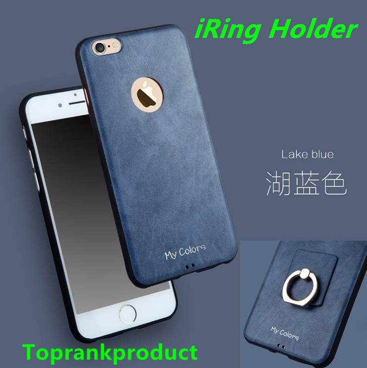 Apple iPhone 6 6S / Plus Leather TPU Case Cover Casing + Ring Holder
