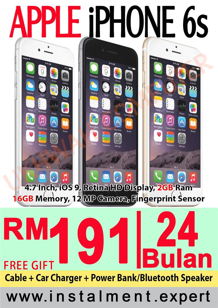Apple iPhone 6S 16GB Harga ANSURAN AEON 24 Bulan With Free Gift