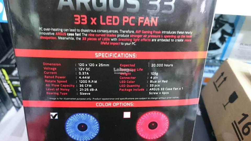 ARGUS 33X LED 120mm Casing Fan (RED/BLUE)