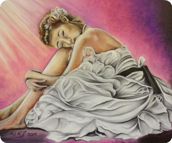 Art Crayon on Canvas Drawing - Ballet by ALKJ