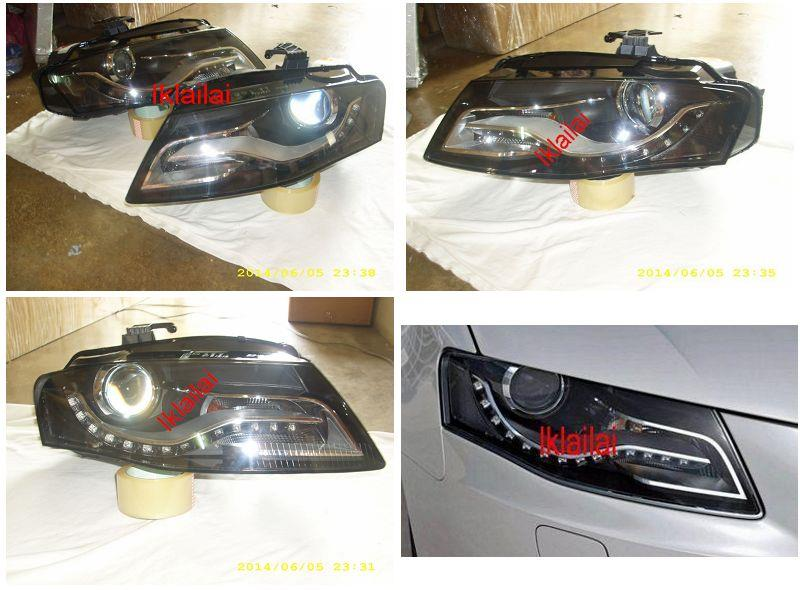 AUDI A4 B8 4D '09 Projector Head Lamp LED R8 DRL [Black Housing]
