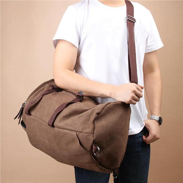 AUGUR 1028 Canvas Leather Travel Backpack (Coffee)
