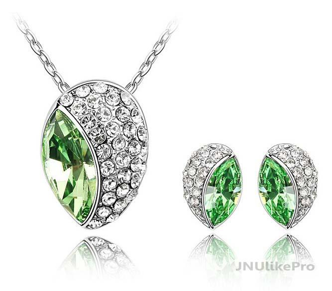 Austria Swarovski Elements Bud Necklace Earrings Crystal Set