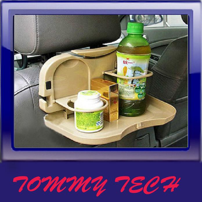 Automotive meal tray trolley with folding rear seat tray table racks