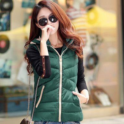 Autumn Winter Women Vest Hooded Vest Outerwear