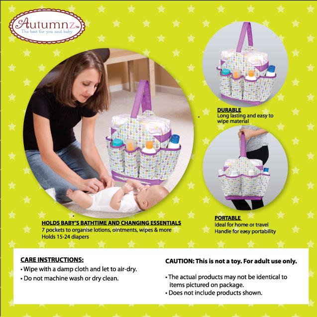 Autumnz Portable Diaper Caddy - Confetti (Lime)
