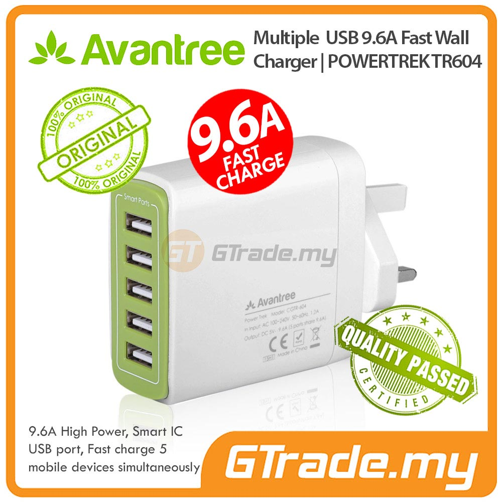 AVANTREE 5 USB Charger 9.6A Fast Charge Samsung Galaxy S7 S6 Edge S5 S
