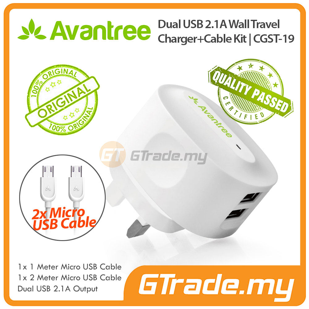 AVANTREE USB Charger 2A+Micro USB cable Samsung Galaxy S4 S3 S2 A7 A5