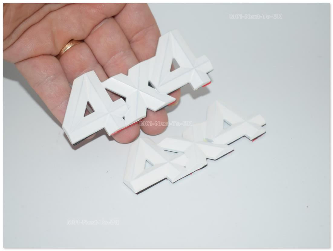 [AXX-BKE] 2 Pcs 4X4 4Wd White Badge Emblem Logo Fender 3D Car Auto S